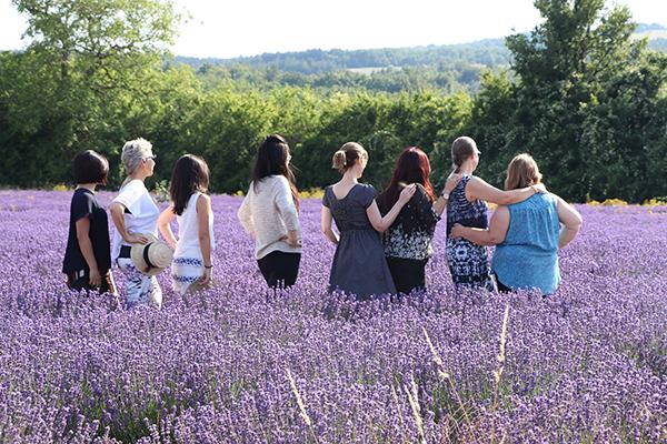 Group of women in lavender field
